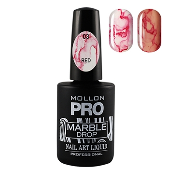 Marble Drop 03 Red - Marmor nail art
