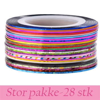 Metallic nailart tape stripe - pakke med 28 stk