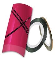 Pink/sort nailart tape stripe - Design metallic